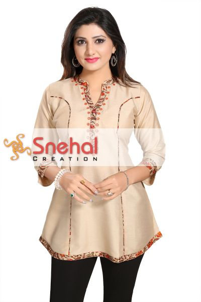 Beige Harlequin Embroidered A Line Tunic for Semi Formal Events